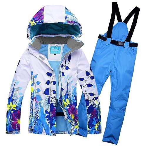 f1e75f4b88 RIVIYELE Women s Waterproof Snowboard Colorful Ski Jacket and Pants Set