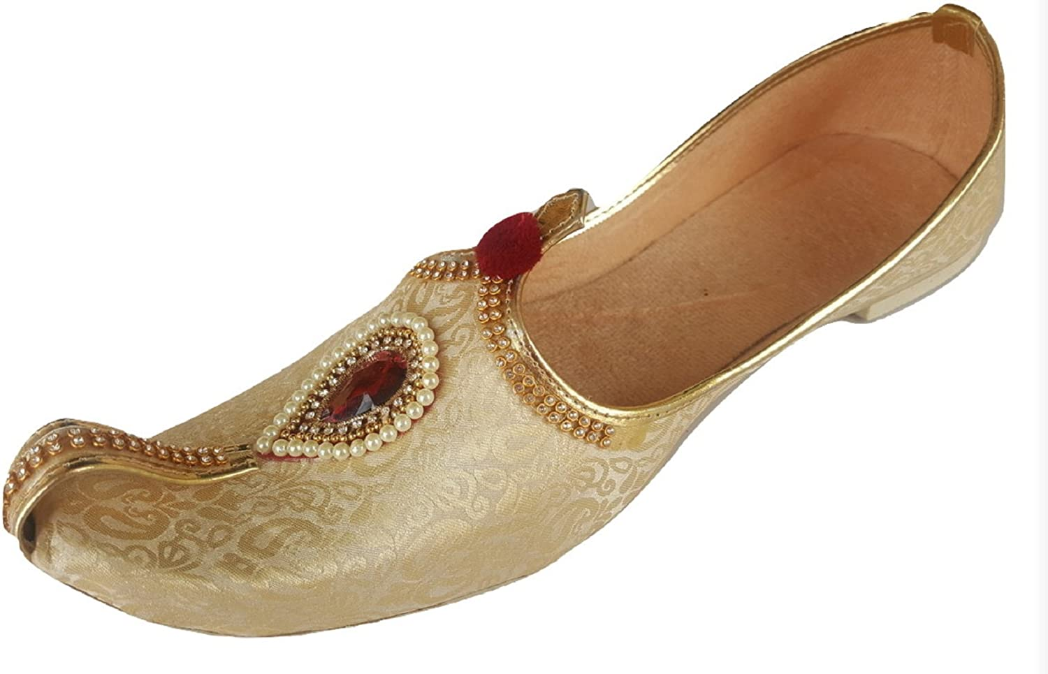 Aura Mens Punjabi Jutti Traditional Indian Khussa Flat shoes Ethnic Mojari UK Size 7-12 GP golden