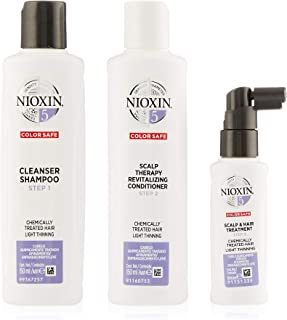 Nioxin System 5 Trial Kit for Chemically Treated Hair with Light Thinning, 150ml+150ml+50ml