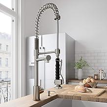 VIGO VG02007ST Zurich Single Handle Pull-Down Sprayer Kitchen Sink Faucet, Centerset..