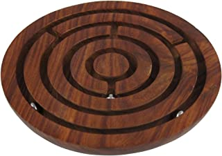 ShalinIndia Handcrafted Indian Wooden Labyrinth Ball Maze Puzzle Game