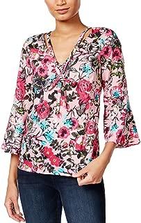 kensie Womens Tie-Neck Floral Print Casual Top Pink M