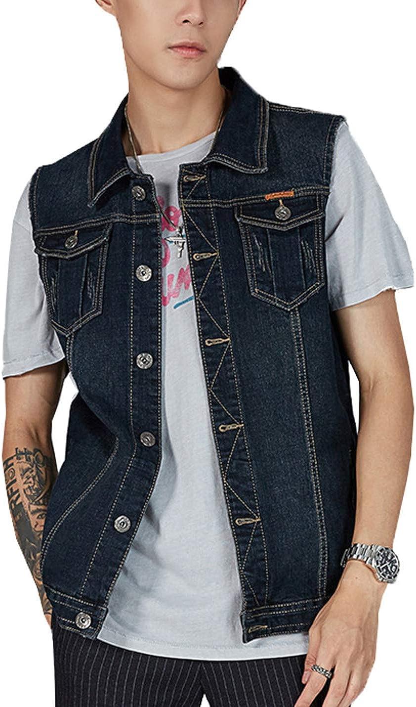 Alilyol Casual Plus Size Denim Vest for Men M-5XL Black Blue Plus Size Button Down Sleeveless Jeans Vests Jacket Motorcycle
