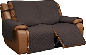 Easy-Going Loveseat Recliner Cover, Reversible Couch Cover for Double Recliner, Split Sofa Cover for Each Seat, Furniture Protector with Elastic Straps for Kids, Dogs, Pets(2 Seater, Chocolate/Beige)