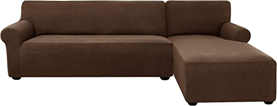 subrtex 2 Pieces L-Shaped Couch Covers Right Chaise Stretch Fabric Sectional Sofa Slipcovers for 3 Seaters(Coffee)