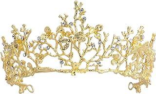 frcolor Cerchietto barocco di Corona D' Oro Di Matrimonio Di diadema con il matrimonio in cristallo di libellula per la fe...