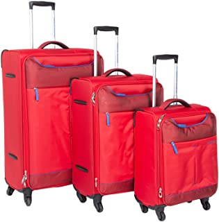 American Tourister Sky Set of 3, Soft Luggage Trolley Bags With TSA Lock, 55+68+82cm, Red/Blue