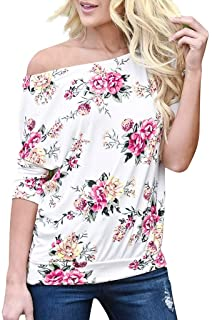 Fankle Womens Off The Shoulder Tops Boho Floral Print 3/4 Sleeve Tee Shirts Tunic Blouse