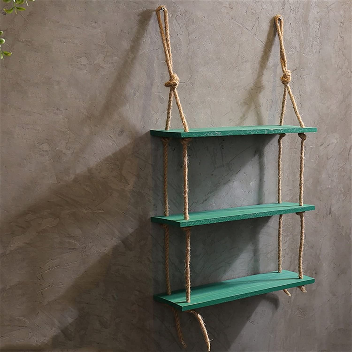 DNSJB Wall Decoration Frame, Hemp Rope Storage Rack, Wall Hanging Pendant Shelf Industrial Style (color   Green)