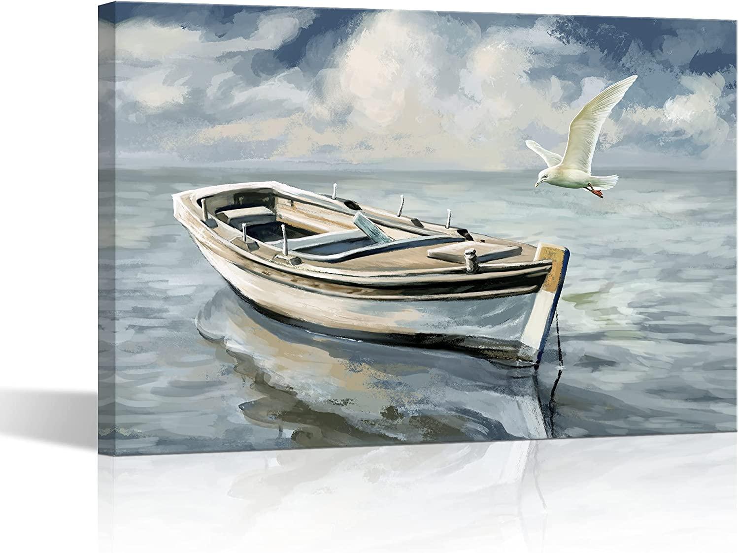 Beitly Ocean Canvas Wall Art Boat Seagull Print Coastal Gray Blue Bathroom Living Room Bedroom Painting Decoration Home Decor Ship Seabird Sky Ready to Hang 16x24 Inches Framed Large