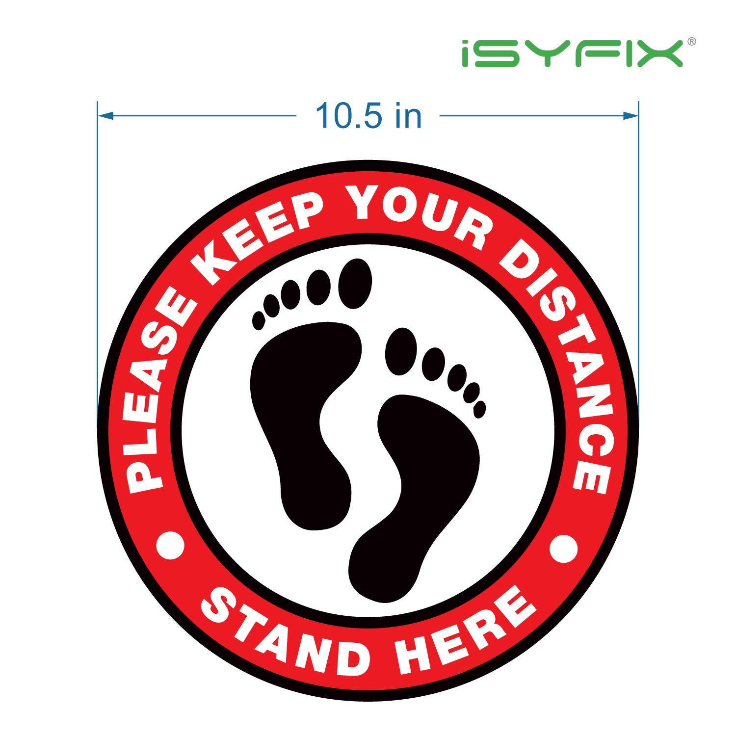 Keep 6 Feet Apart Floor Marker 10.5 Round Waterproof Adhesive Anti-Slip Lamination 5Pack Red//White BKS Physical Distancing in Effect Social Distancing Floor Sticker Stand Here Floor Sign