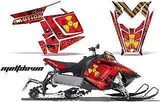 2011-2014 Polaris PRO-R, RMK, Rush, Switchback, Assault AMRRACING Sled Graphics Decal Kit - Meltdown - Yellow-Red