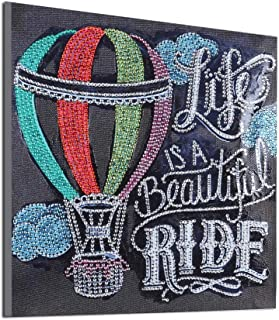 DIY 5D Diamond Painting by Number Kits Diamond Art Special Shaped for Adults Beginner Kids Colourful Animal Flowers Black Background English Alphabet Style 11.9x11.9 Inch (Hot Air Balloon)