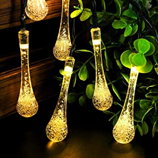 Gluckluz Solar Lights Decorative Fairy String Light 8 Modes Water Drop for Outdoor Garden Indoor Home Patio Lawn Party Wed...