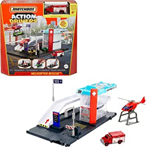 Matchbox Action Drivers Matchbox Helicopter Rescue Playset for Kids 3 Years Old & Up, with 1 1:64 Ambulance, Helicopter with Free-Spinning Propeller & Car-Carrier