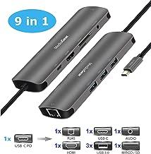 MediaGear USB C 9-in-1 Multi Port Adapter/Hub: USB C 3.1 (Supports PD Charging) to USB C + USB 3.0 + HDMI + RJ45 + Micro/SD Card Reader