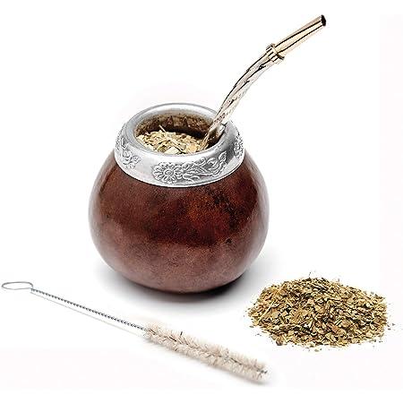 BALIBETOV Nouveau ensemble de maté naturel de calebasse (tasse à maté - Mate gourde) fabriqué à la main - avec Bombilla (sorbet) pour boire le maté de yerba (MARRON)