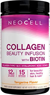 NeoCell Beauty Infusion Collagen Supplement Drink Mix Powder, 6,000mg Collagen Types 1 & 3, Tangerine Flavor, 11.64 Ounces...
