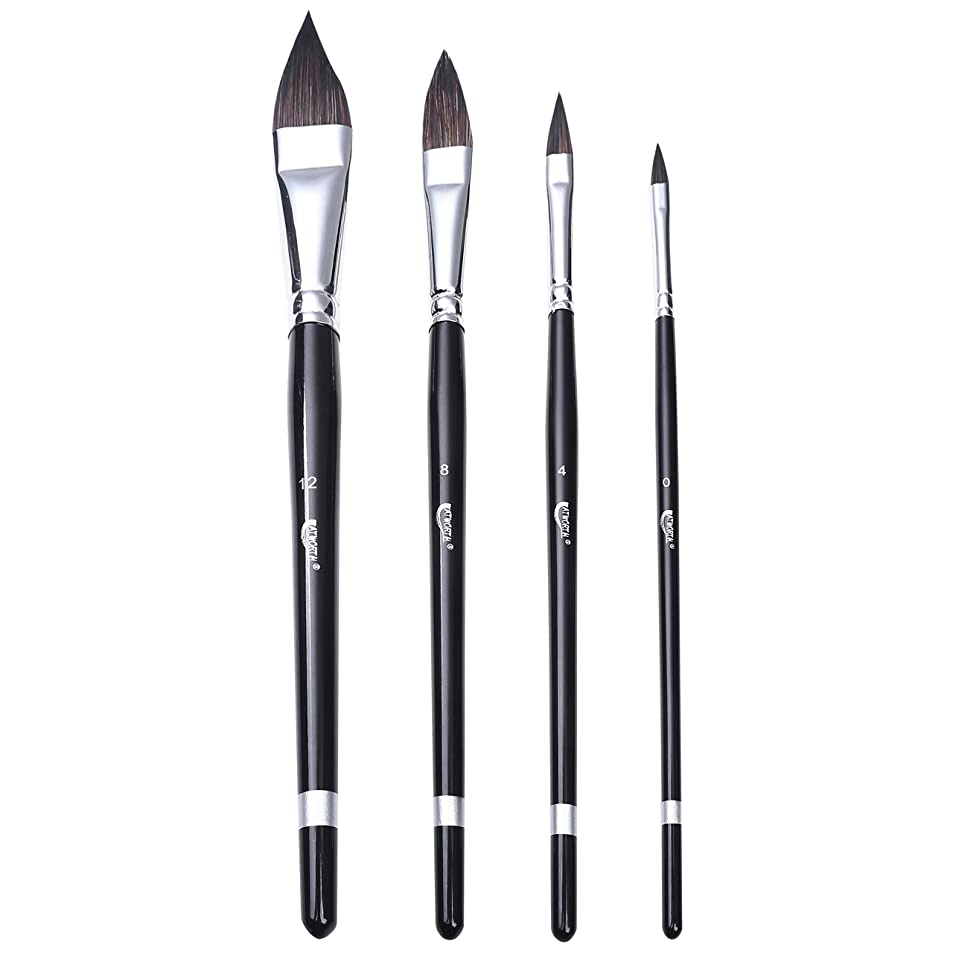 4-PCS Sable Watercolor Brushes- ATWORTH Cats?Tongue?Paint?Brush-Versatile Wash Paint Brush Set of 4 for Acrylic Paint Watercolors Gouache Illustration Animation morhrqrq9162