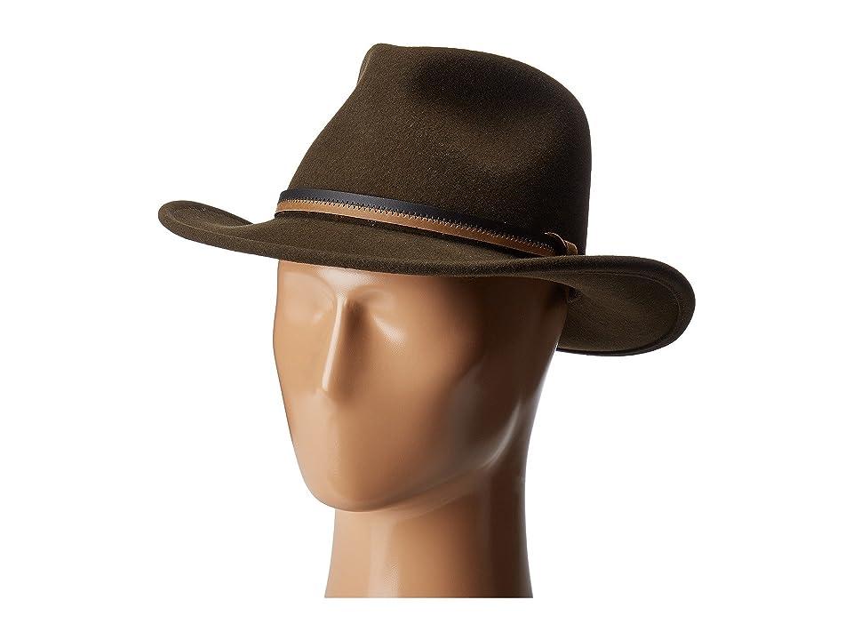 Country Gentleman Outback Wool Drop Brim Fedora Hat (Dark Olive) Caps