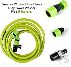 ALLEXTREME PVC Pressure Hose Heavy-duty Power Washer Pipe Replacement Extension with O Ring Clamp (5 m)