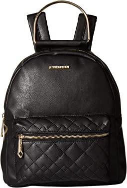 Metal Handle Backpack with Quilted Pocket