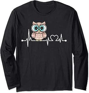 Owl Heartbeat Funny Love Animal Gift For Kid/Women/Men Long Sleeve T-Shirt