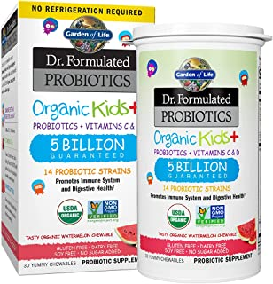 Garden of Life Dr. Formulated Probiotics Organic Kids+ plus Vitamin C & D - Watermelon - Gluten, Dairy & Soy Free Immune &...