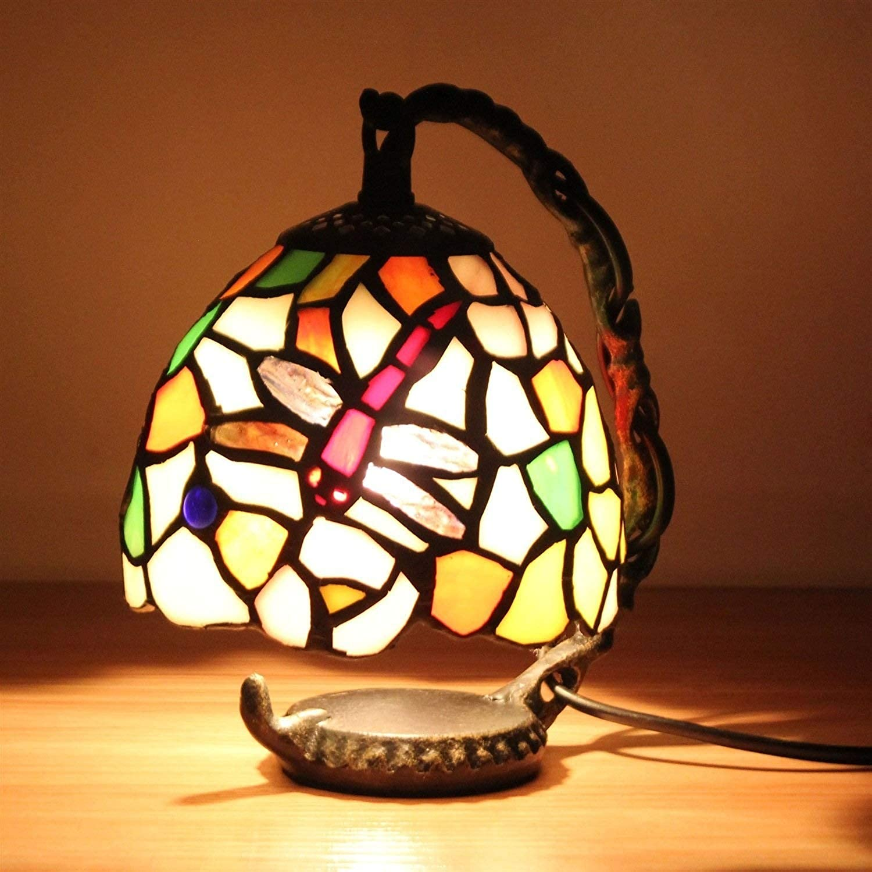 YCL Tischlampe Europische farbige dekorative tischlampe 5 Zoll romantische kreative Libelle led Schlafzimmer nachttischlampe licht fütterung nachtlicht dekorative tischlampe