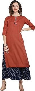 كورتا حريمي هندي من Janasya من الحرير الصناعي الأحمر مع بالازو