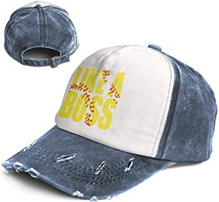 Like A Boss Trend Printing Cowboy Hat Fashion Baseball Cap for Men and Women Black and White