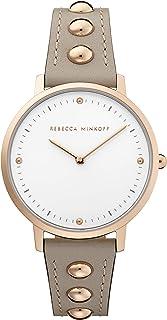 Rebecca Minkoff Women's Stainless Steel Quartz Watch with Leather Calfskin Strap, Grey, 16 (Model: 2200322)