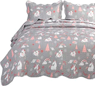 Bedsure Unicorn Quilt Set Grey King Size (106x96 inches) - Lightweight Microfiber Bedspread Coverlet Quilt for All Season, 1 Quilt and 2 Pillow Shams