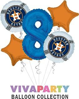 Houston Astro Balloon Bouquet 5 pc, 8th Birthday,   Viva Party Balloon Collection