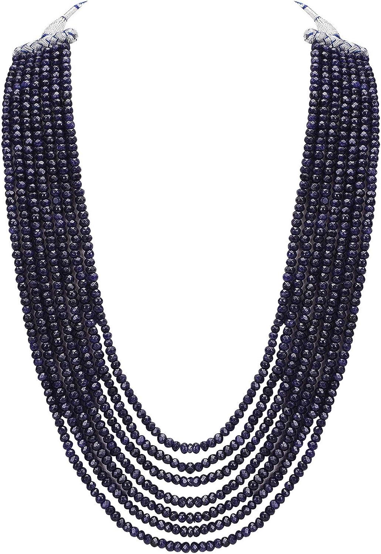 Ratnavali Jewels Multi Color 7 Line Quartz Beads Strand Jewelry Necklace Women