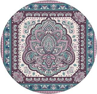 Nappe de table en polyester avec bords élastiques - Style bohème, hippie, mandala, arabe, arabe, cachemire - Pour table ro...
