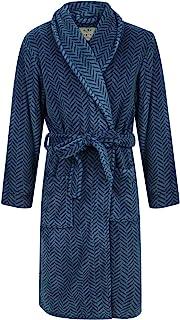 John Christian Men's Blue Herringbone Fleece Robe