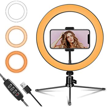 "Ring Light 10"" with Tripod Stand and Phone Holder for YouTube Video & Streaming, Desk Makeup LED Ring Light Dimmable for Photography Lighting, Selfie with 3 Light Modes & 10 Brightness Level(10"")"