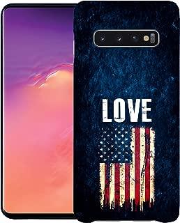 Inkmodo - Designer Hard Case for Galaxy S10 Plus - Love USA Flag Printed Slim Profile Cute Plastic Snap on Back Cover