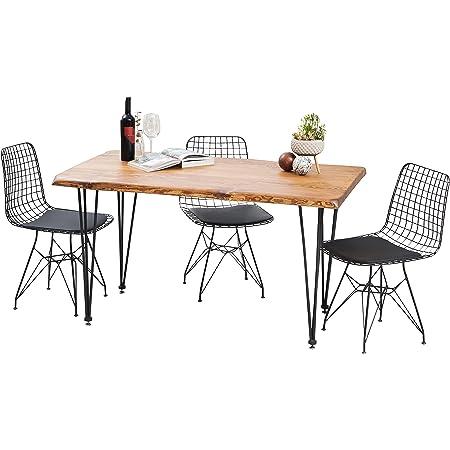 Gozos Scots Pine Series - Table à Manger Moderne avec Plateau en Bois Massif Pin Sylvestre pour 4-6 Personnes│Table de Cuisine et de Salon avec Pingu Pieds en Métal│140cm x 80cm