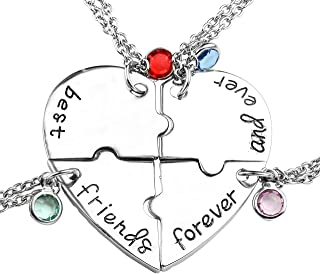 Top Plaza Silver Tone Alloy Rhinestone Best Friends Forever and Ever BFF Necklace Engraved Puzzle Friendship Pendant Necklaces Set(Set of 3)