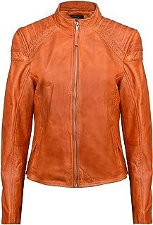 Ladies Brando Orange Quilted LeatherBiker Jacket