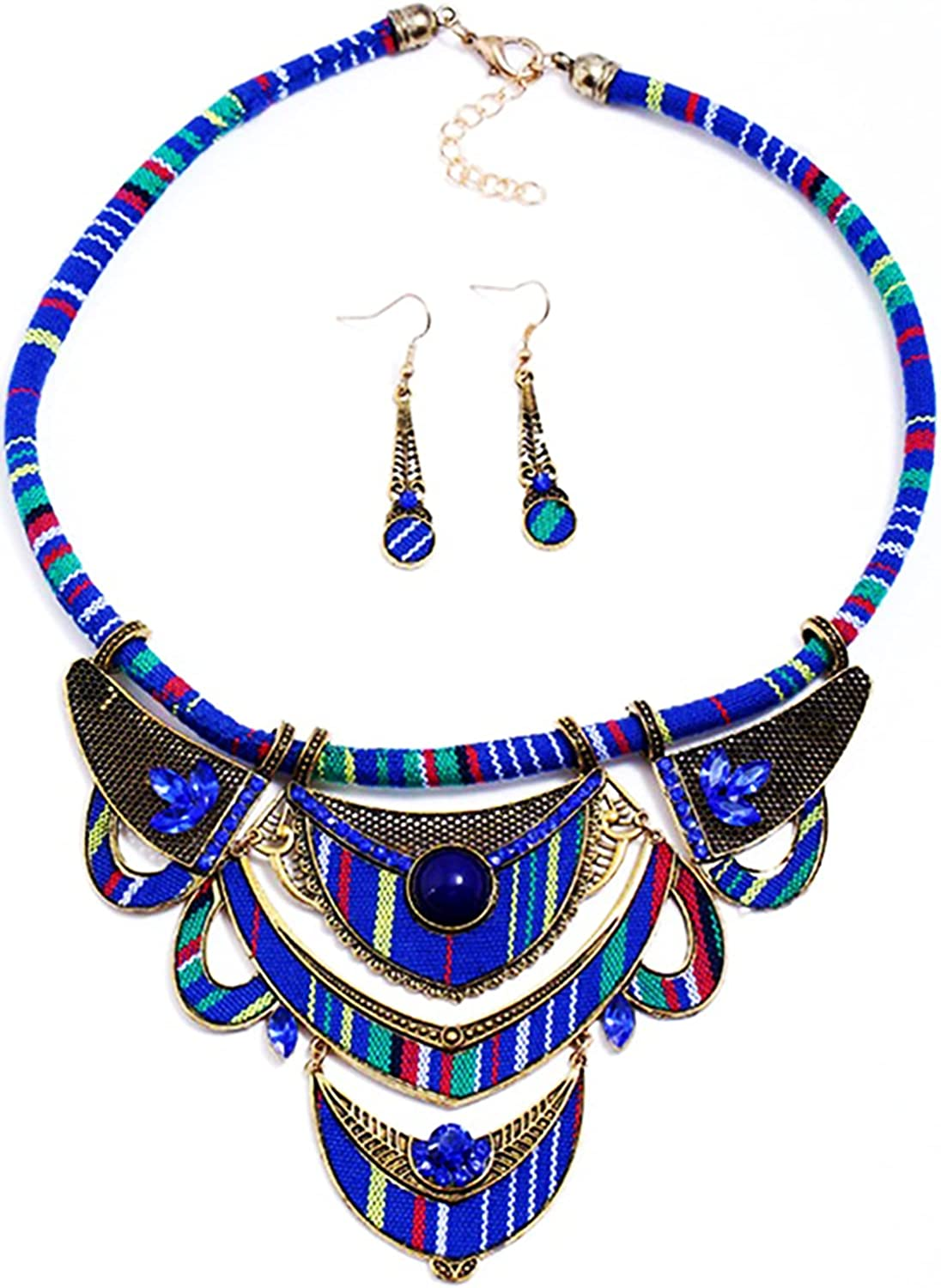 DOAFRIAFRI African Style Necklace Tribal Colorful Collar Choker Ankara Necklace Earrings Jewelry Set