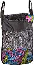 HOMEST Mesh Clothespin Bag, Hanging Clothes Pin Bag with Drawstring, Storage Organizer with Hook, Machine Washable, Black,...