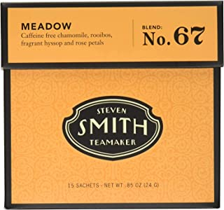 Smith Teamaker Meadow Blend No. 67 (Large Cut Herbal Chamomile and Rooibos Caffeine Free Infusion), 0.85 oz Bags, 15 Count