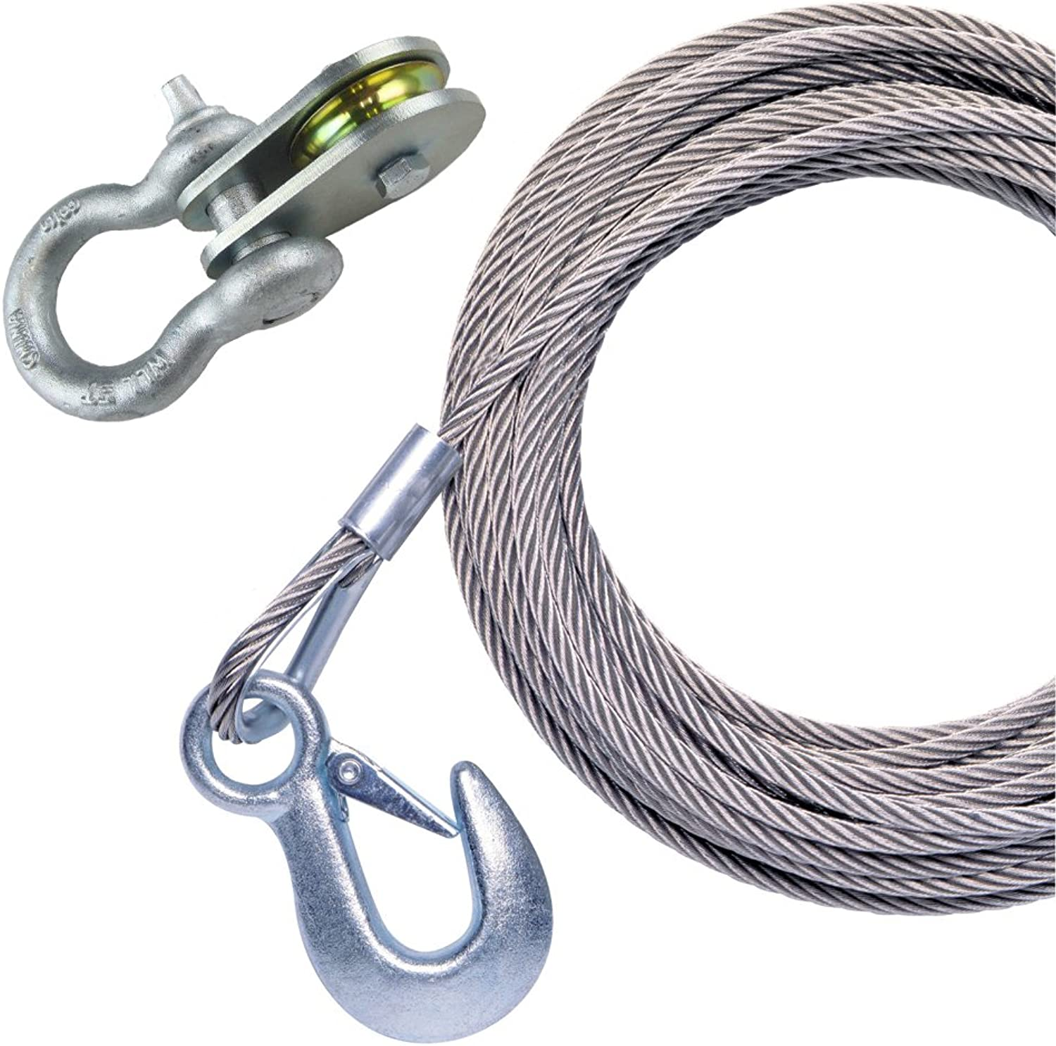 Powerwinch 50' x 7 32  Stainless Steel Universal Premium Replacement Galvanized Cable w Hook & Swivel Pulley Block