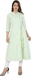 METRO-FASHION Women's Printed Calf Length Green Festive & Party Cotton Mandarin/Chinese Neck 3/4 Sleeve A-line Kurta