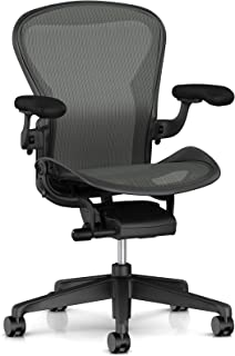Herman Miller Aeron Ergonomic Office Chair with Standard Tilt and Zonal Back Support | Fixed Arms and Hard Floor Casters | Large Size C with Graphite Finish