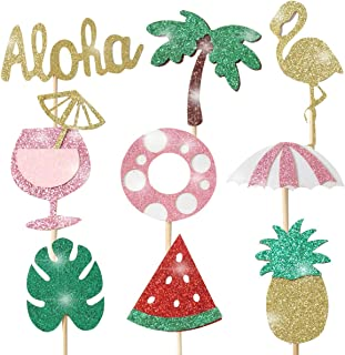 (36pcs) Hawaii Luau Cupcake Toppers Picks Glitter Flamingo Cake Topper Palm Tree Fruits Tropical Party Decorations Hwaii Birthady Wedding Party Supplies