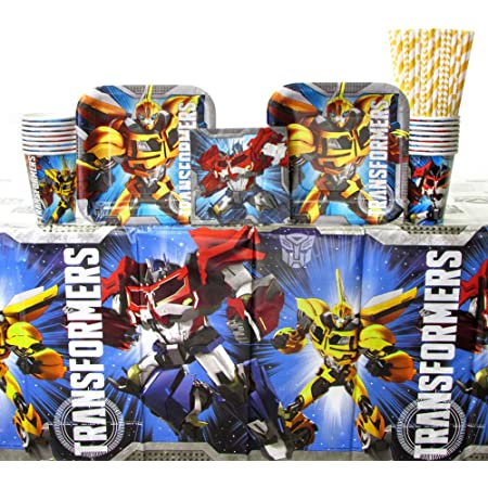 2 TRANSFORMERS  TABLE CLOTHS PLASTIC 2 PACKS 8 EACH CUPS BIRTHDAY PARTY BOYS @@